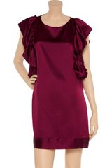 Sunner Vanderbilt Ruffled Satin Tunic Dress in Purple (burgundy) - Lyst