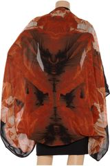 Alexander Mcqueen Poppyprint Silk Cape in Black - Lyst