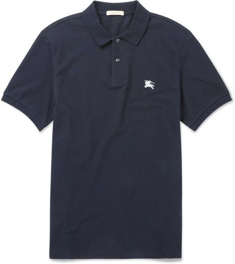 Burberry Brit Cotton Piqu Polo Shirt In Blue For Men Lyst