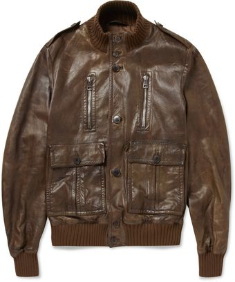 Gucci Pre-aged Leather Bomber Jacket - Lyst