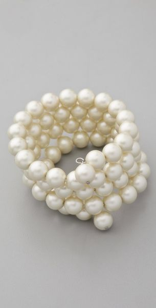 Kenneth Jay Lane Pearl Coil Bracelet in White (pearl) - Lyst