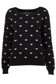 Topshop Knitted All-over Heart Jumper - Lyst