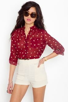 Nasty Gal Darcy Dot Blouse - Wine - Lyst