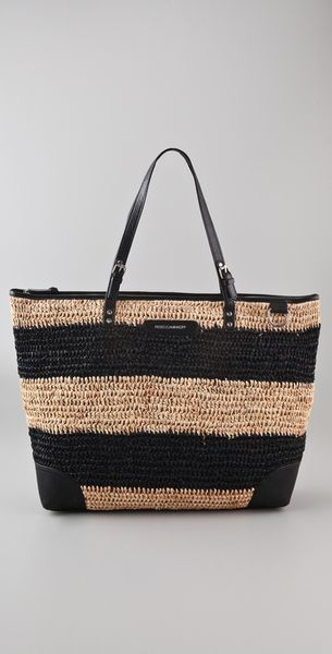 Rebecca Minkoff Endless Love Straw Tote in Black - Lyst