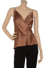 Alberta Ferretti Wrapeffect Silksatin Top in Brown - Lyst