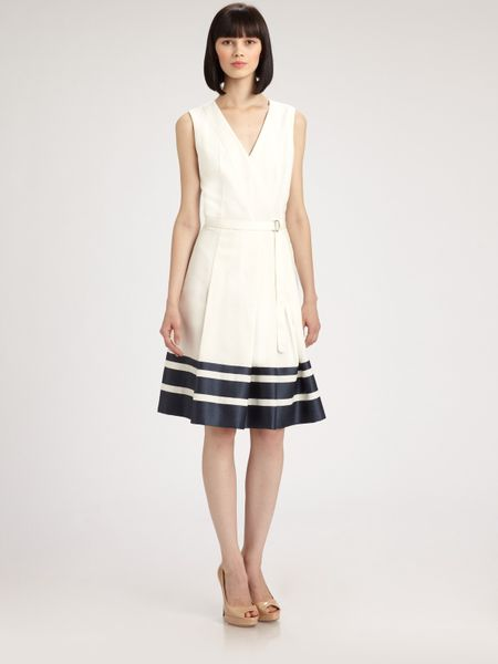 Akris Punto Belted Stripe Dress in Beige (white) - Lyst