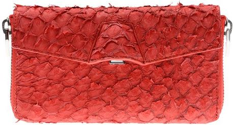 Alexander Wang Quillon Long Compact Perch Wallet in Persimmon in Red