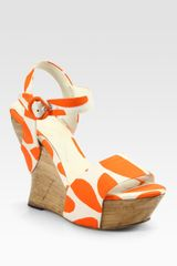 Alice + Olivia Joyce Printed Canvas Wrap Wedge Sandals