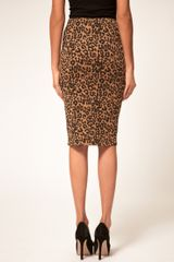 Asos Collection Asos Animal Print Pencil Skirt in Ponte in Brown (print) - Lyst