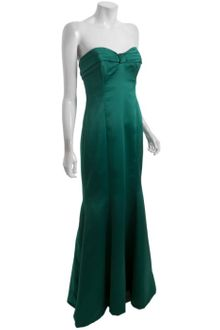 Badgley Mischka Emerald Satin Strapless Bow Gown - Lyst