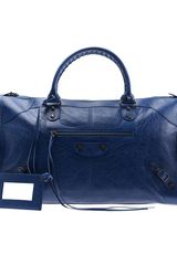 Balenciaga Work Large Leather Handbag in Blue - Lyst