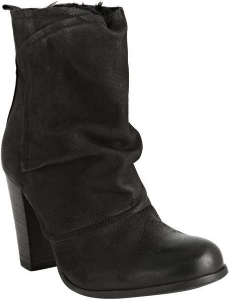 boutique 9 black leather daveney faux fur lined boots in