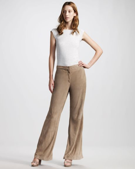 Brunello Cucinelli WideLeg Suede Pants in Brown - Lyst