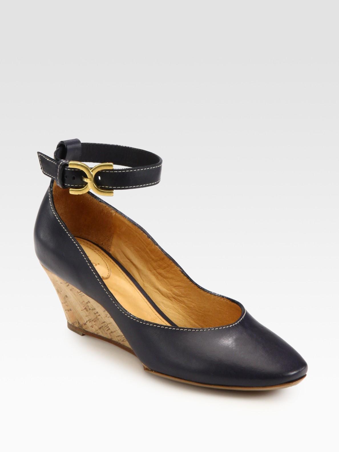 chlo 233 cork wedge shoe in blue navy lyst