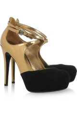 Dkny Quinn Metallic PatentLeather and Suede Pumps in Gold - Lyst
