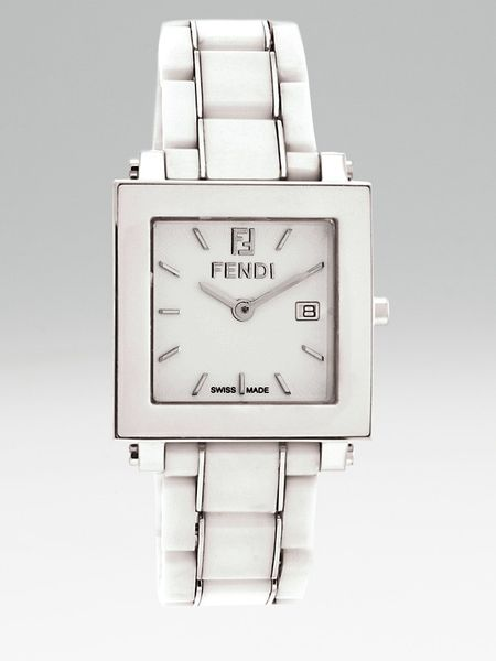 Fendi Ceramic Square Watch in White - Lyst