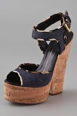 Giuseppe Zanotti Cork Cutout Wedge Sandals in Blue (denim) - Lyst