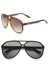 Gucci Young Project Aviator Sunglasses in Black for Men - Lyst