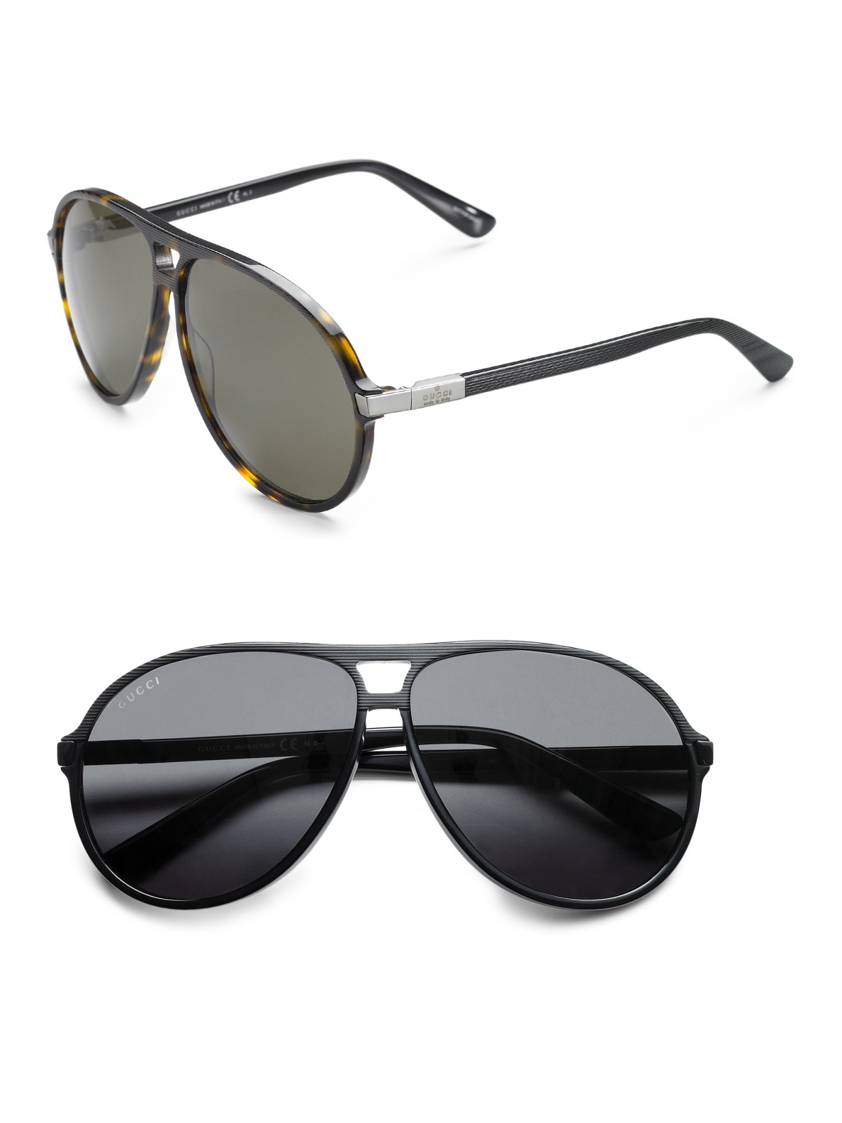 Lyst Gucci Acetate Aviator Sunglasses In Brown For Men