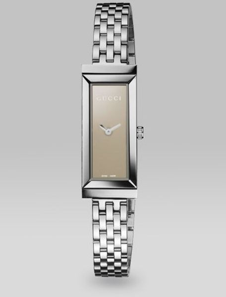 Gucci Gframe Stainless Steel Rectangle Watch in Brown - Lyst