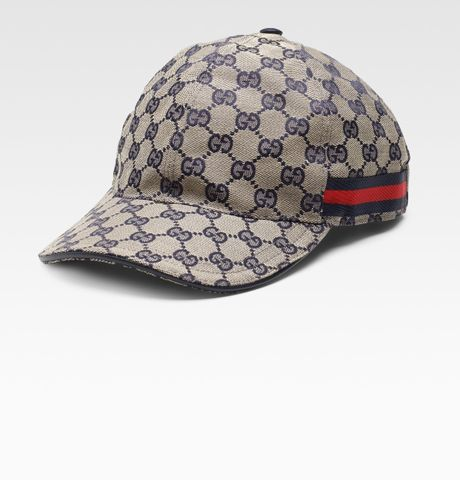 gucci canvas baseball hat in blue for ink lyst