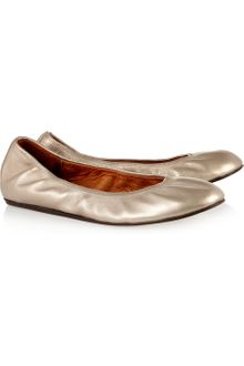 Lanvin Metallic Leather Ballet Flats - Lyst