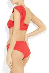 Lanvin Asymmetric Bandeau Bikini in Red - Lyst