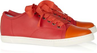 Lanvin Color-Block Leather Sneakers - Lyst