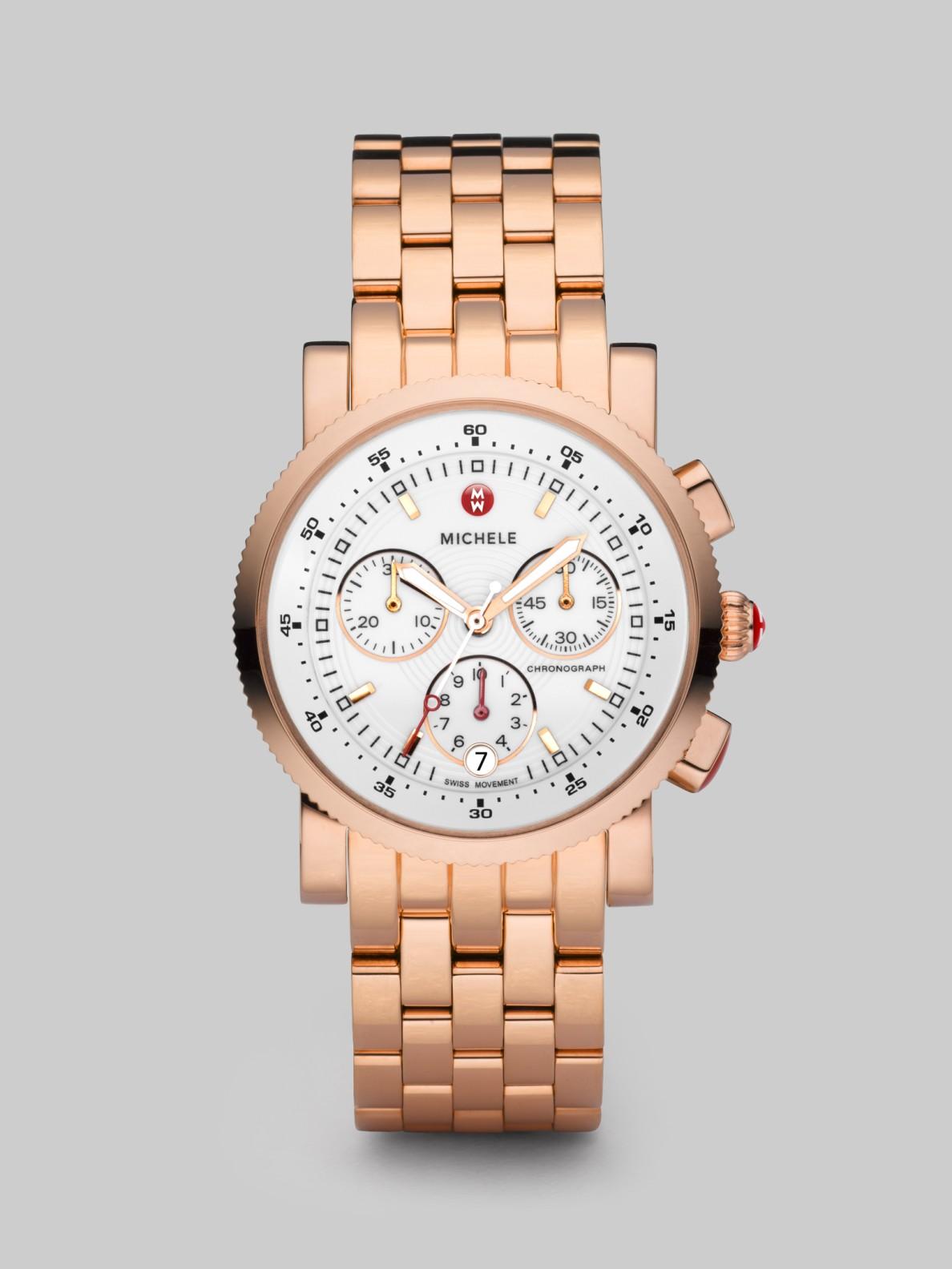 michele sports sail goldplated chronograph bracelet