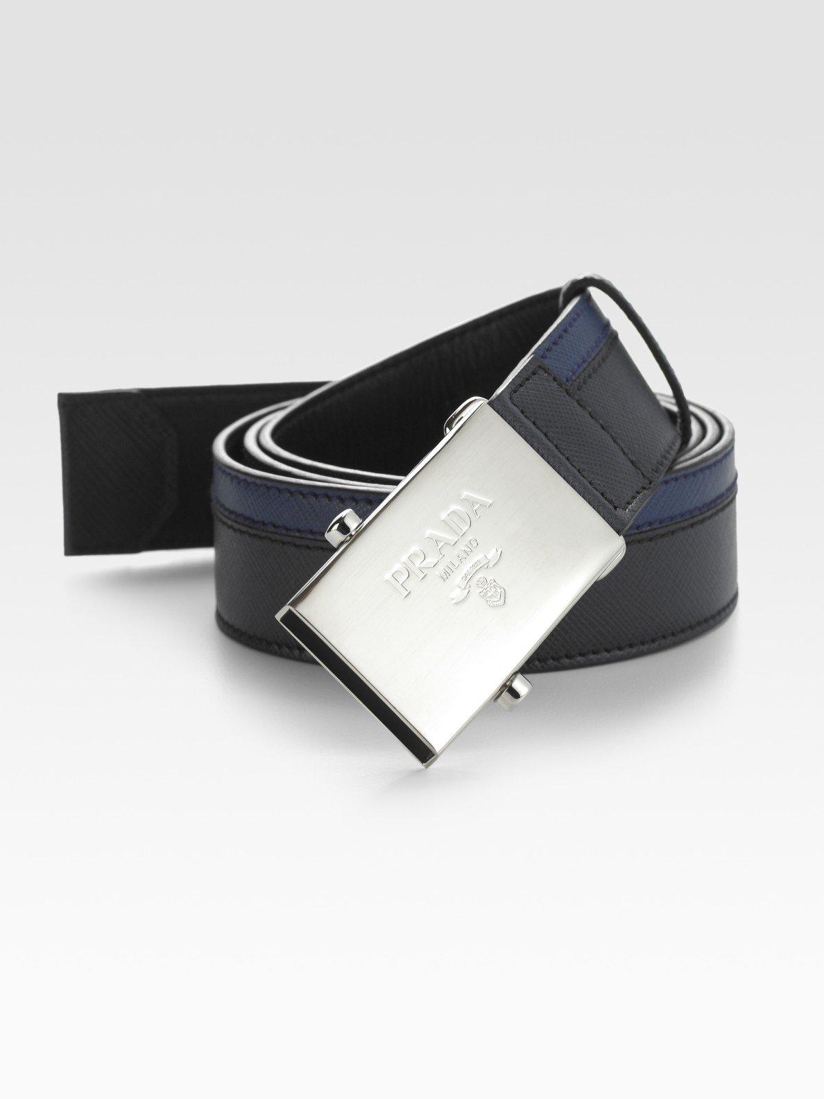prada handbags and purses - Prada Saffiano Striped Leather Belt in Blue for Men | Lyst