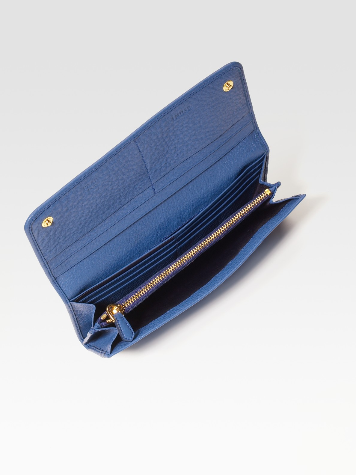 Prada Vitello Daino Flap Continental Wallet in Blue (cobalt) | Lyst