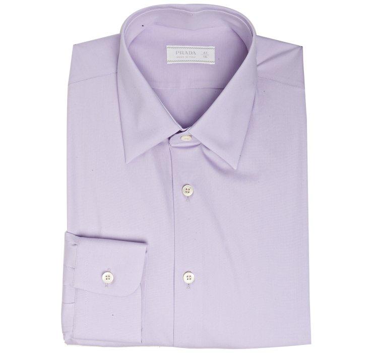Prada wisteria stretch poplin point collar dress shirt in for How to stretch a dress shirt