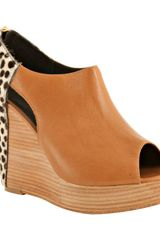 Rebecca Minkoff Almond Leather and Calf Hair Trott Cutout Wedges