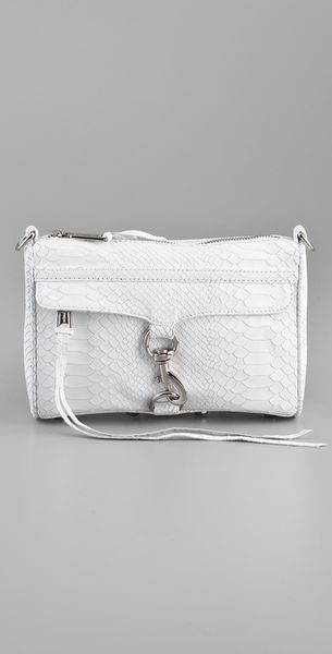 Rebecca Minkoff Mini Mac Snake Clutch in Beige (white) - Lyst