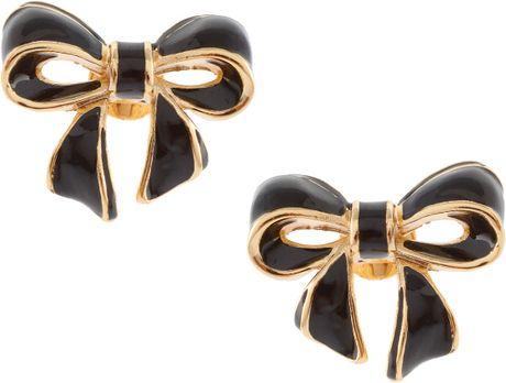 ted baker beya bow enamel earrings in black lyst