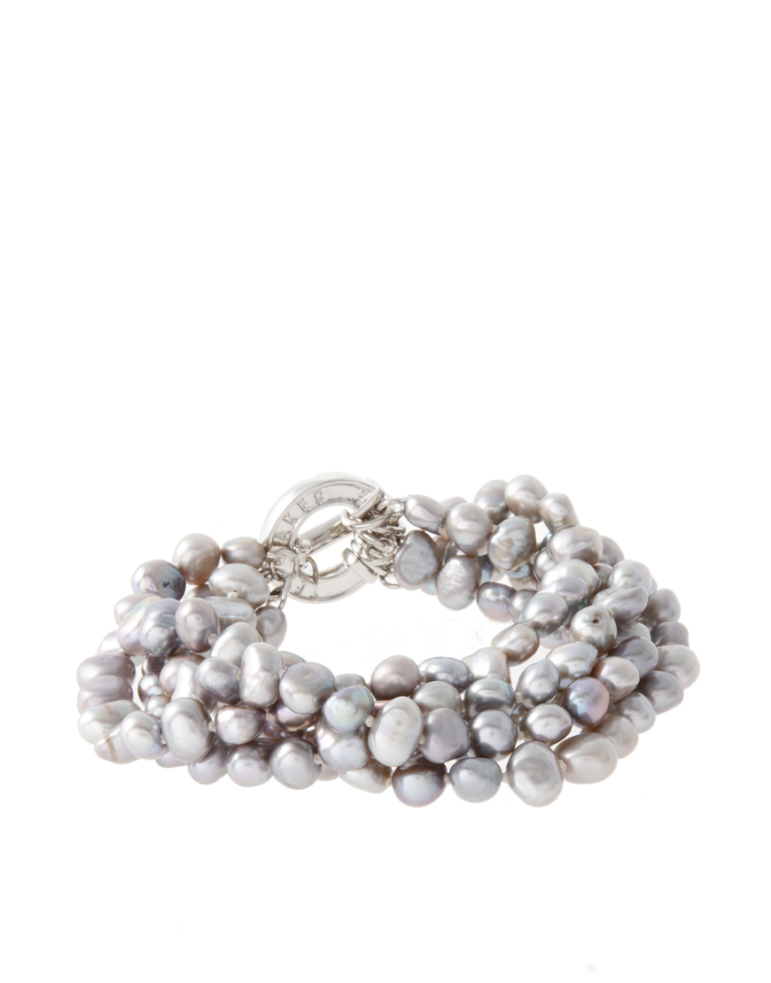 ted baker handknotted pearl bracelet in gray grey lyst