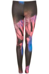 Topshop Black Spray Printed Legging - Lyst