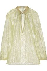 Valentino Lace Blouse in Yellow (almond) - Lyst