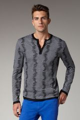 Versace Striped Henley Sweater - Lyst