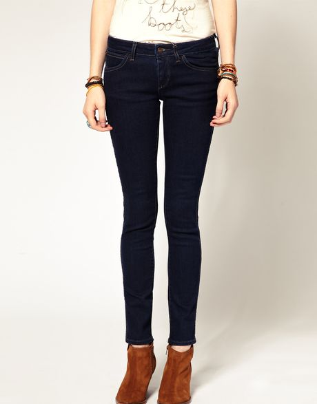 Wrangler Courtney Low Waist Skinny Jean in Blue (navy) - Lyst