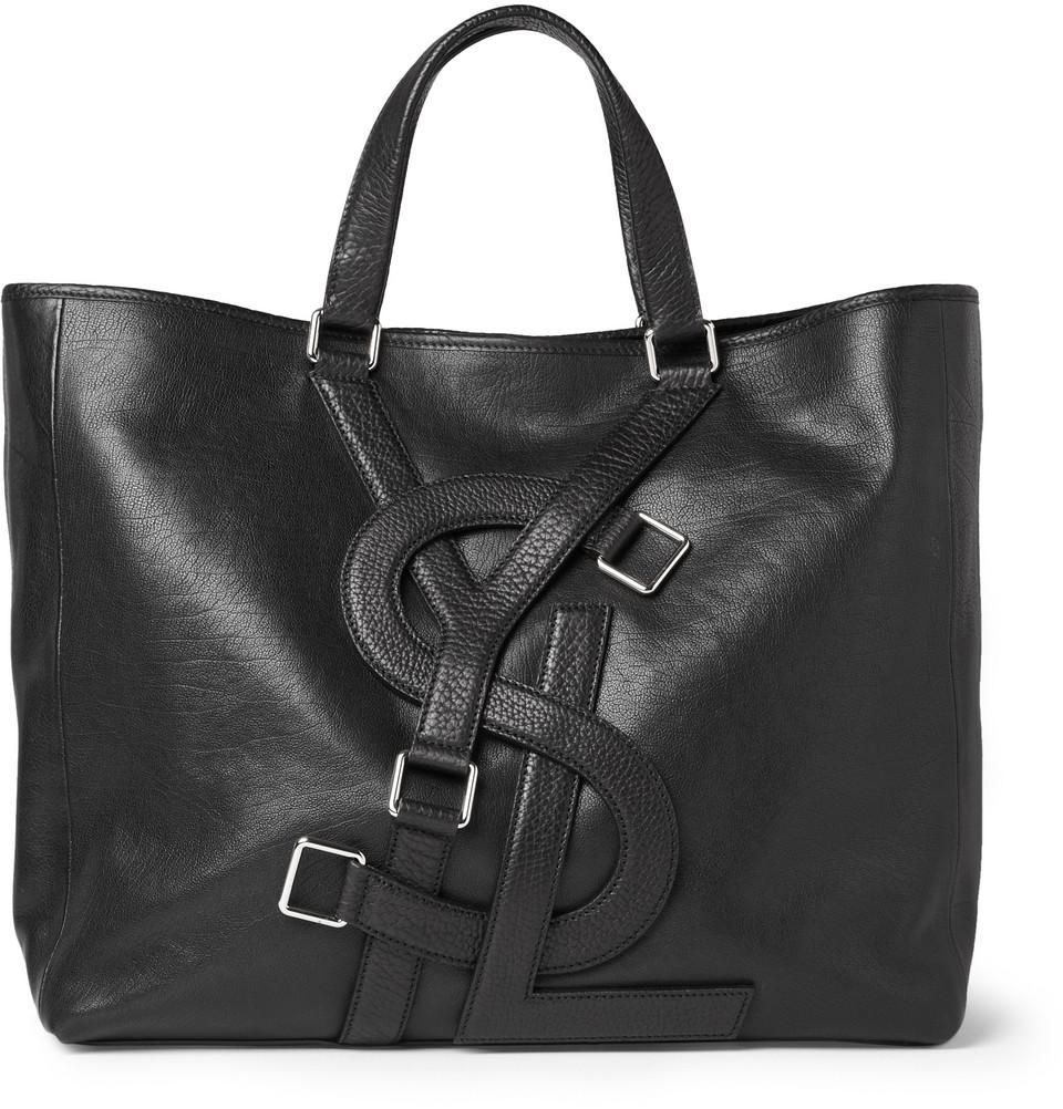 Saint Laurent Logo Strap Leather Tote Bag in Black for Men | Lyst