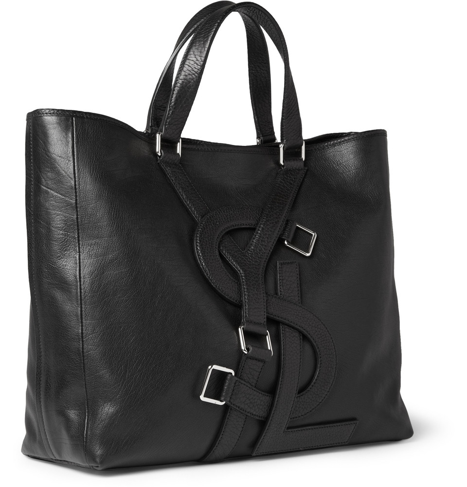 879847266d Lyst - Saint Laurent Black Leather Vavin Logo Buckle Large Tote in ...