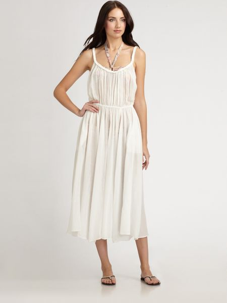 Zimmermann PlaitedStrap Cotton Maxi Dress in White - Lyst