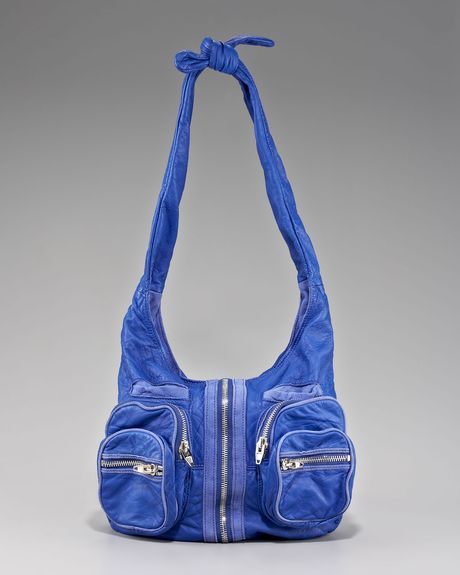 Alexander Wang Donna Washed Leather Hobo in Blue (azure)