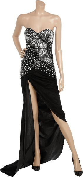 Balmain Embellished Suede and Leather Gown in Black - Lyst