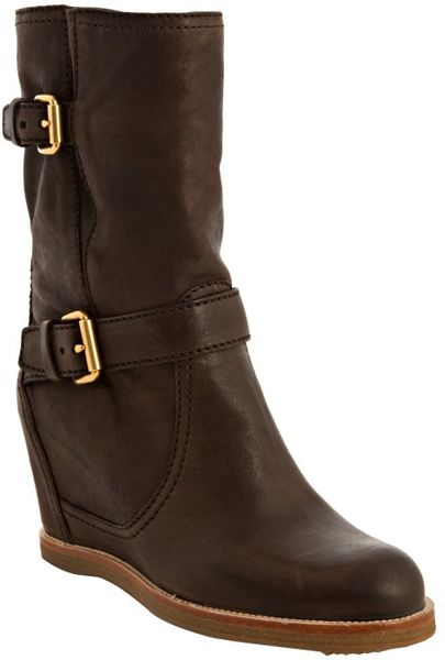 car shoe brown leather buckle details wedge boots in