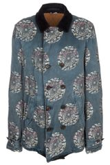 Comme Des Garçons Double Breast Embroided Coat in Blue for Men - Lyst