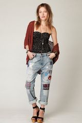 Free People Levis Lvc Patch Boyfriend Straight Leg in Blue (customized patch) - Lyst