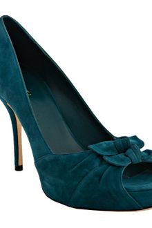 Gucci Teal Suede Lise Peep Toe Bow Pumps - Lyst