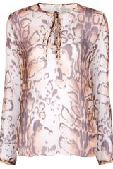 L'Agence Silk Animal Print Blouse - Lyst